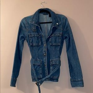 DKNY jeans jean jacket with belt and pockets